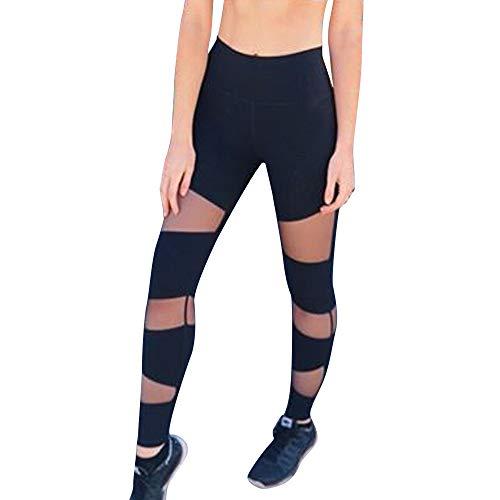 Damen Leggings Tech Mesh Yoga-Fitness-Hose, Lange Streetwear Damen Sport Leggings, Lang Yoga Tights(S,S)