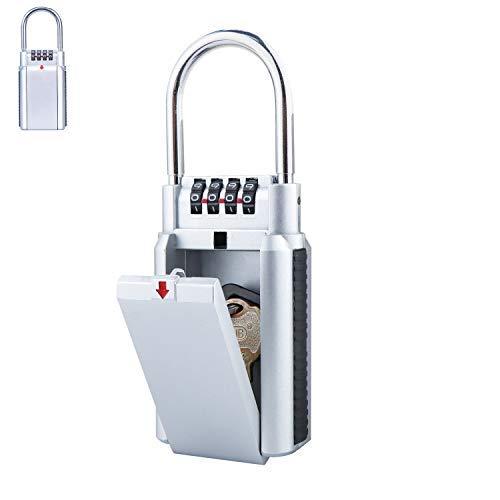 Caja de bloqueo para llaves exterior, portátil resistente a la intemperie con código de 4 dígitos combinado, candado de seguridad de almacenamiento de coche para niños