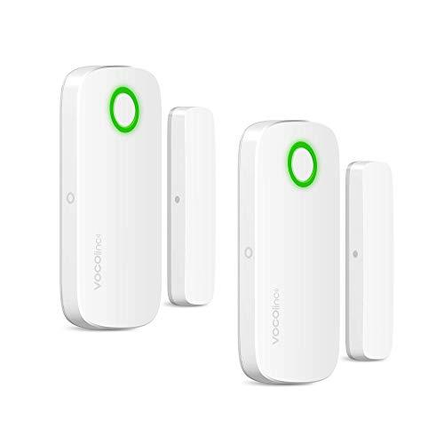 Apple HomeKit SÓLO Sensor Alarma Magnético Inalámbrico de Ventana y Puerta Bluetooth Ahorro de Energía Acceso Remoto con Hub del Hogar (VOCOlinc VS1 2 Pack)