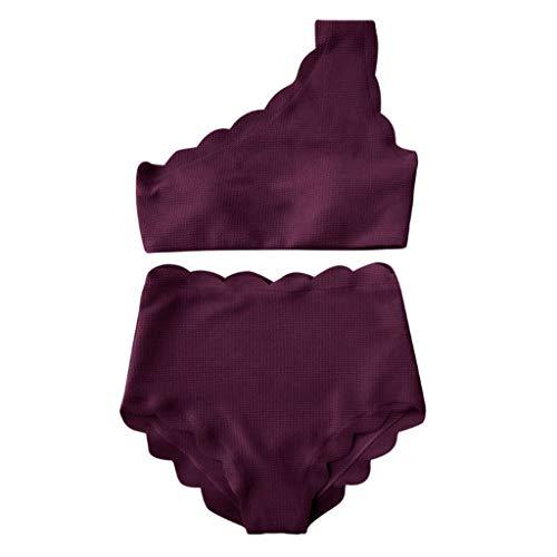 Dragon868 Trajes de baño de Cintura Alta Vintage Dos Piezas Festoneado Ajuste Bikinis de un Hombro (Púrpura,L)