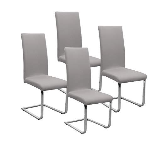 BEAUTEX Jersey Stuhlhussen Sets, elastische Stretch Husse Baumwolle Bi-Elastic, Farbe wählbar (Mittelgrau-Stein 4er Set)