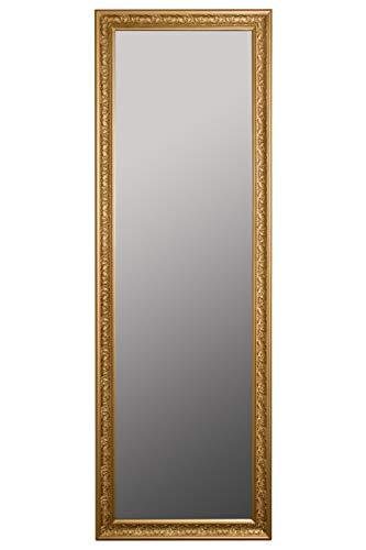 elbmöbel Wandspiegel Gold Spiegel Antik Stil Barock mit Facettenschliff - XL Ankleidespiegel Ganzkörperspiegel Garderobenspiegel Holzrahmen, Größe: 187 x 62 cm