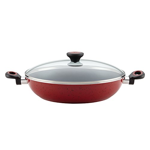 Paula Deen 16992 Riverbend Nonstick Chicken Frying Pan / Fry Pan / Skillet with Lid and Side Handles  - 12.5 Inch, Red