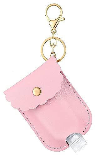 Ledertasche mit Keychain tragbarer Squeeze-Flasche, Leere dichtichte Kunststoff-Reiseflasche PU (Rosa)