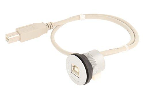 Schlegel 23.001.545 USB-Buchse mit vorne, 1x USB-Buchse, Typ B und hinten, 1x USB2.0-Kabel Länge 50 cm mit Stecker Typ B, Silber
