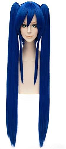 RTUTUR Cosplay Peluca Hadas Cola Wendy Marvell Azul Clip Clip Larga Pelucas Estilo Frauen Cosplay Fiesta Anime Anime Traje Humano Pelucas llenas de Vela sintética de la Fibra Resistente al Calor