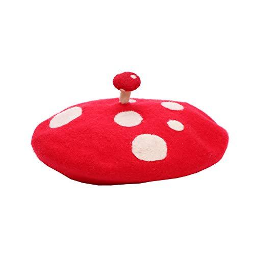 Zasy Casual Wool Beret Hat Classic French Artist Beanies Handmade Cap for Women (Mushroom)