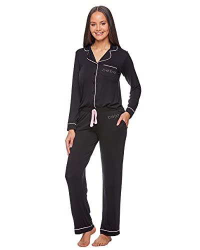 bebe Womens Button Down Long Sleeve Shirt and Pajama Pants Lounge Sleep Set (Black, Small)