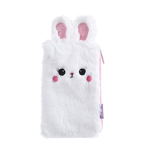 Carolilly - Estuche de unicornio para lápices y bolígrafos, bolsillo suave, para mujer, niña, con forma de conejo Bianco Talla única