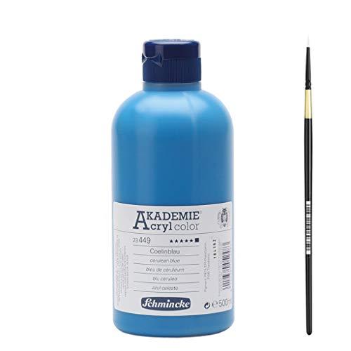 Schmincke Akademie® Acrylfarbe, extrem lichtbeständig, 500ml inkl.Synthetik-Haarpinsel Gr. 3/0 (449 Coelinblau)
