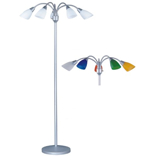 """Park Madison Lighting PMF-4655-60 70"""" Tall 5 Light Floor Lamp with Fully Adjustable Arms and White and Color Shades Included, 14"""" x 13"""" x 17"""", Silver"""