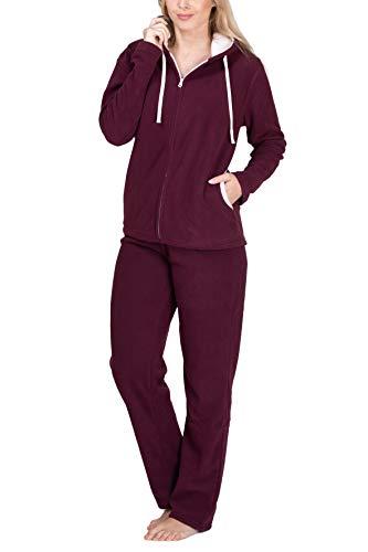 SLOUCHER Fleece-Anzug Hausanzug aus wärmenden Fleece für Damen, Farbe:Bordeaux, Größe:56-58