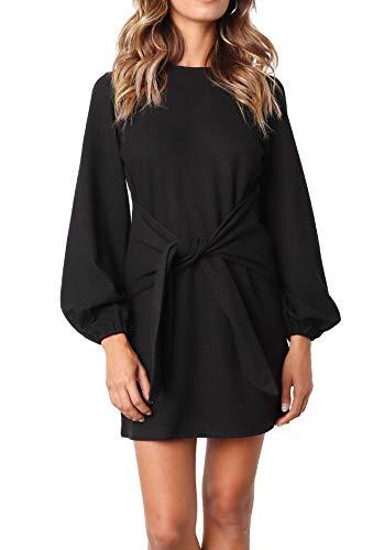 R.Vivimos Women's Autumn Winter Cotton Long Sleeves Elegant Knitted Bodycon Tie Waist Sweater Pencil Dress (XL,Black)