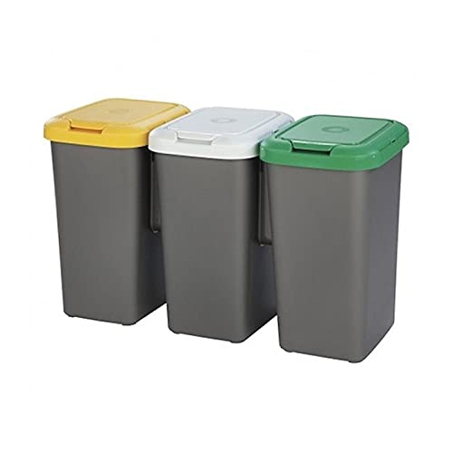Acan Tontarelli - Cubo de Basura para Reciclaje plástico Gris, Set 3 papeleras de Reciclaje 75 litros, 47,5 x 77 x 33 cm