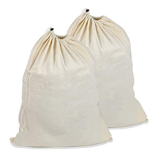 WOWOSS 2 Piezas Bolss de Lavandería de Algodón Extra Grandes, Bolsa de Almacenaje con Cordón Lavable y Reutilizable - 68 x 90cm