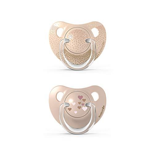 Suavinex Set di ciucci per bambini, ciuccio con tettarella anatomica in silicone (307145), beige, 0-6 mesi, 2 pezzi