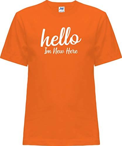 Kleckerliese Nicki T-shirt à manches courtes pour bébé et fille Motif Hello In New Here - Orange - 2 ans