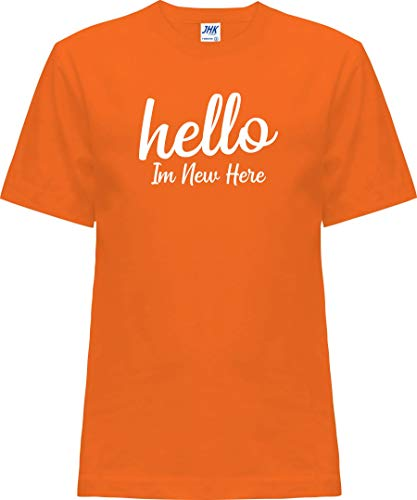 Kleckerliese Nicki T-shirt à manches courtes pour bébé et fille Motif Hello In New Here - Orange - 2 ans
