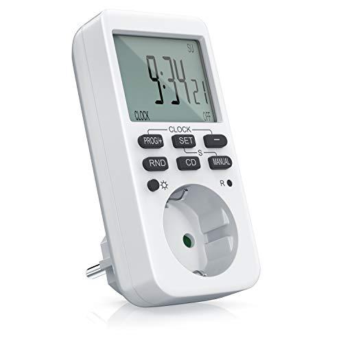CSL - Zeitschaltuhr digital - mit LCD-Display - 3680W - 10 konfigurierbare Programme - LED-Statusanzeige - Zufallsschaltung - 12 24h-Modus - integrierter Berührungsschutz