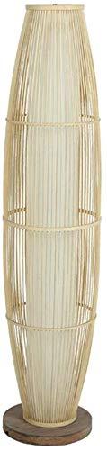Lámpara de piso de bambú grande simple Lámpara de pie moderna Lámparas estándar Lámpara de estar de pie Lámpara de pie Hombre de punto de mano y soporte de bulbo