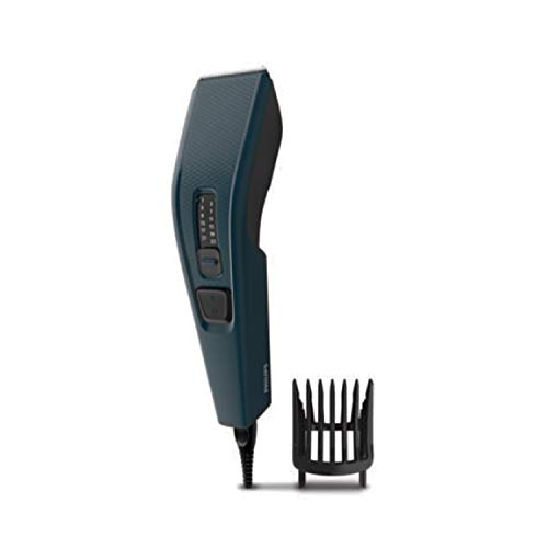 Philips Hair Clipper (Corded) with 13 Length Settings, 41 mm Wide Cutter, Stainless Steel Blades and Trim-n-Flow Technology (Blue)
