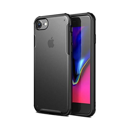 AILZH carcasa para Funda iPhone SE(2020)/iPhone 7/iPhone 8 [TPU+PC]suave Silicona Protección Caso Antichoque anti-rasguño Ultradelgado Parachoques bumper Anti-Shock case cover(Mate translúcido-Negro)