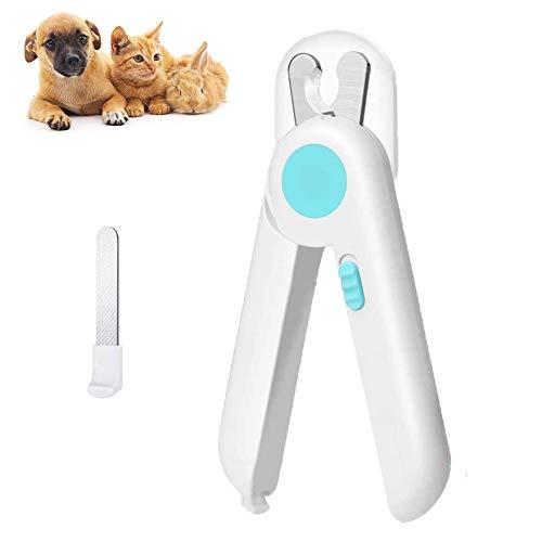 Sunwuun Cortauñas para Perro y Gato con luz LED, Cortauñas Perro y Gato Mascota Protector de Seguridad, Incluye Lima de uñas