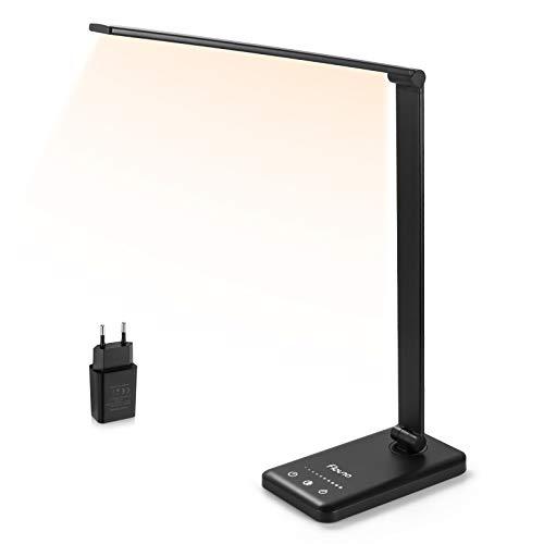 Lámpara LED Escritorio Flauno Flexo LED Escritorio Regulable con Puerto USB, 5 Modos, 10 Niveles de Brillo, Temporizador, Función de Memoria, Protege los Ojos (Negro)