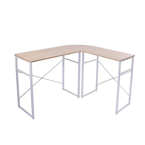 eSituro SCD0020 Schreibtisch L-Form Eckschreibtisch Computertisch Winkelschreibtisch Bürotisch Holz Stahl Hell Eiche