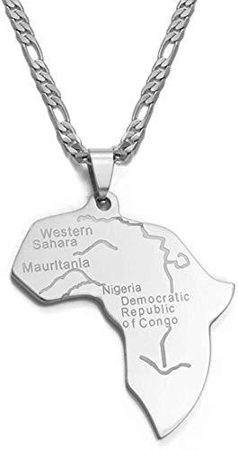 Aluyouqi Co.,ltd Collar Mapa De Color Plateado De África, Collares Pendientes para Mujeres/Hombres, Mapas Africanos, Joyería, Regalos Etíopes, 60 Cm