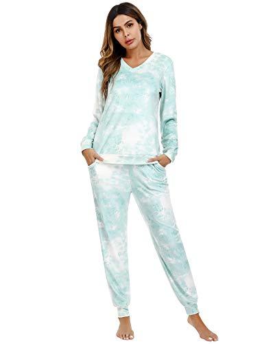 Irevial Damen Velours Hausanzug Nicki Schlafanzug Lang Winter Weicher Pyjama Anzug Set Zweiteiliger Flanell Trainingsanzug Oberteil und Hose mit Taschen Z-hellgrün M