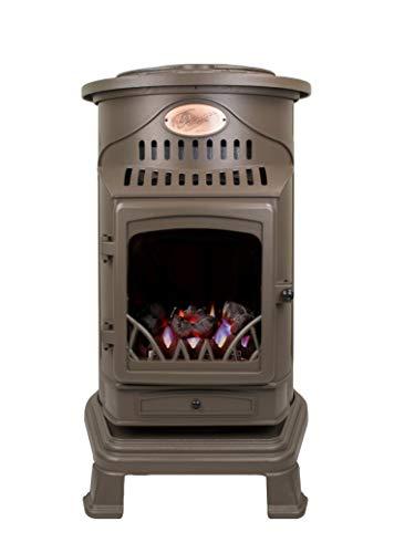 Calefactor auxiliar portátil de gas estilo antiguo estufa Provence – Modelo 2019, marrón
