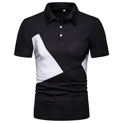 CICIYONER Poloshirts Herren Kurzarm Streifen Patchwork Große Größe Casual Top Bluse Shirts S M L XL XXL