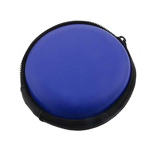Mdsfe ritssluiting hoofdtelefoon box leer opbergdoos harde tas dragen waterdicht voor muntopbergkaart draagbare USB-kabel organizer - stijl 4 donkerblauw