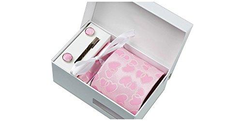 Coffret Cupidon - Cravate rose avec cœurs roses, boutons de manchette, pince à cravate, pochette de costume