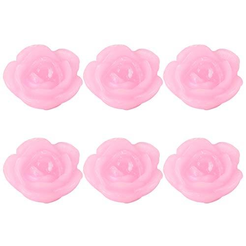 Uonlytech 6 Stück Schwimmende Blume Kerze Rosa Rose Geformte Kerze Wohnkultur Kerze Party Liefert für Geburtstag Schlafzimmer Hochzeit