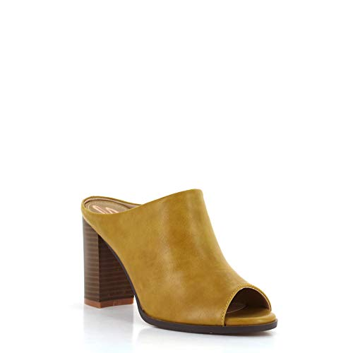 Seven7 Women's Mexx Mule High-Heel Peep Toe Dress Sandal Vegan Leather Mustard 9