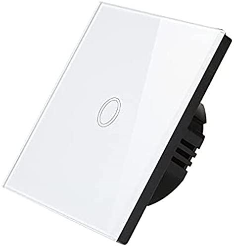 KFJZGZZ Interruptor Tactil Sensor Touch Sensor Interruptor Interruptor Interruptor Panel de Vidrio 1 Gang 1 Way Placa de Interruptor de luz eléctrica Interruptor Inteligente