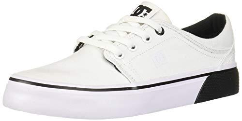 DC Women's Trase TX Skate Shoe, White/Black, 5 M US