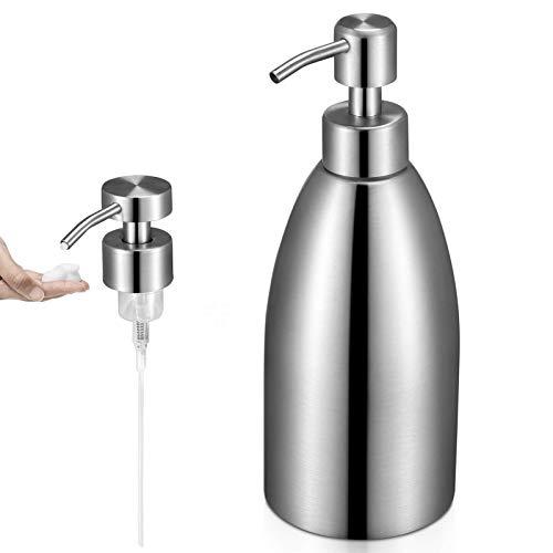 SISVIV 500ML Flüssigseifen-Spender Lotionspender Mit Schaumdüse Seifenspender in Edelstahl 304 Soap Dispenser Shampoo Badezimmer Küche Silber