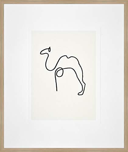 Nielsen Home Bild mit Rahmen 50x60 cm (hoch) - Picasso Le Chameau I das Kamel - Kunstdruck - Holzrahmen Eiche - Premium Poster gerahmt Made in Germany