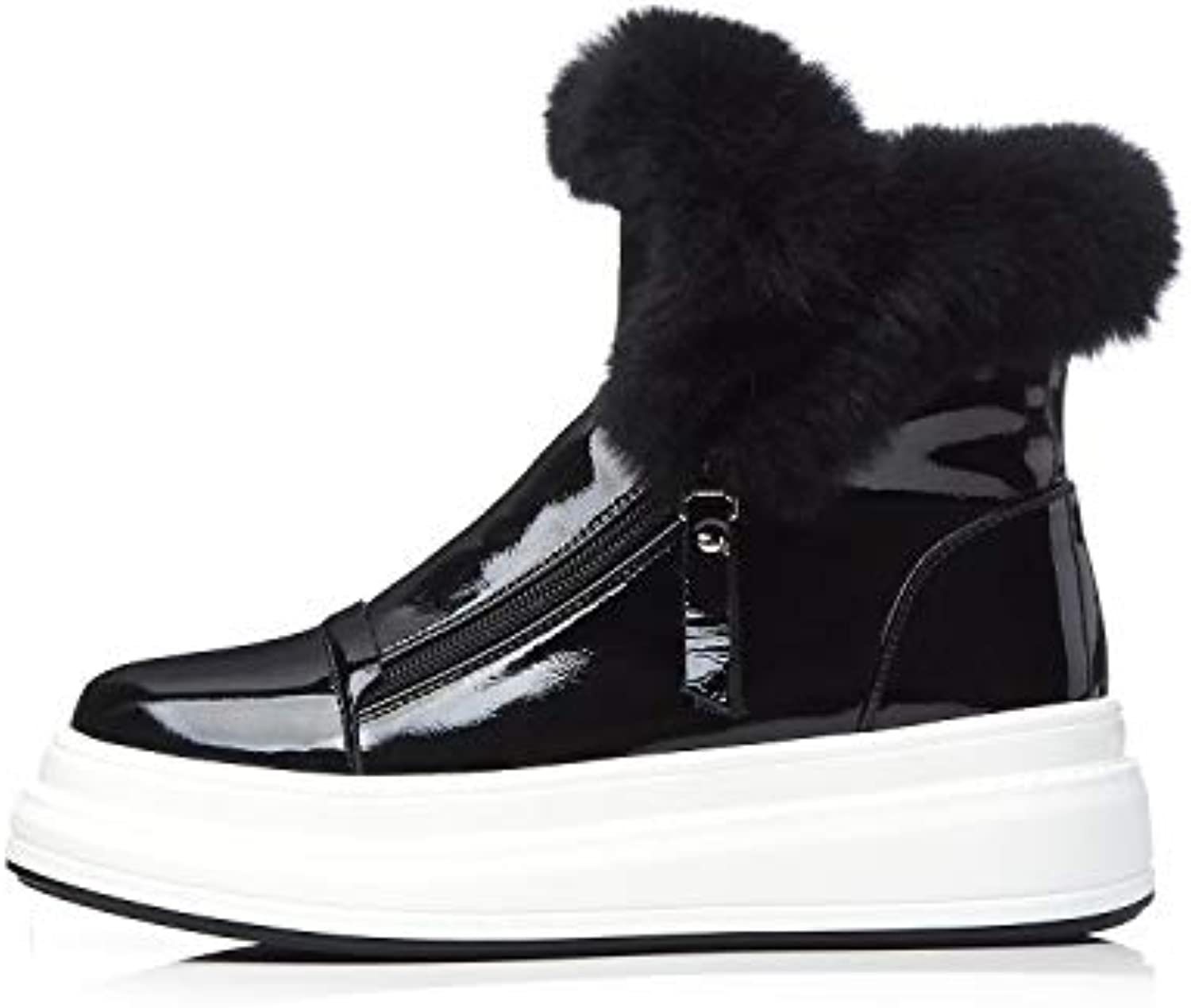 Women's Boots Leather Winter top Casual shoes Snow shoes Platform shoes Round Head Warm Thick Boots Black White (color   Black, Size   38)