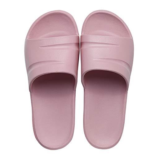 Zapatillas Para Parejas Masculinas Y Femeninas, Sandalias Antideslizantes Para La Ducha Doméstica Interior De Verano, Zapatillas Secado Rápido Y Transpirables De Fondo Suave 37-38 Rosado