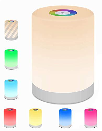 Lampada Comodino,Swonuk Camera da Tavolo Controllo Touch Portatile USB Ricaricabile Regolabile RGB Multicolor LED Lampada per Bambini, Camera da Letto, Campeggi