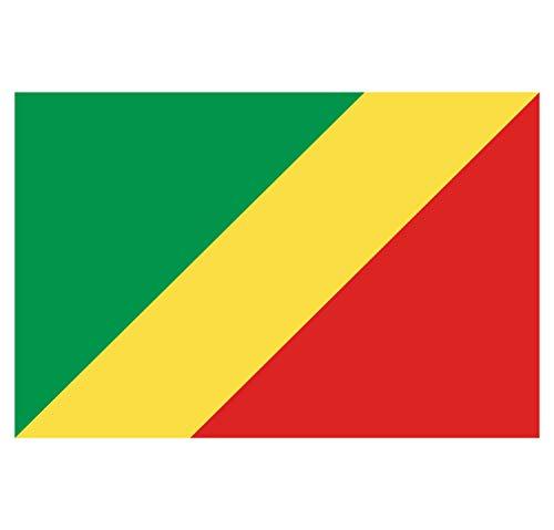 Supstick Aufkleber, Flagge von Nation, Kongo-Brazzaville, Format 3 x 2 cm, 8 Stück