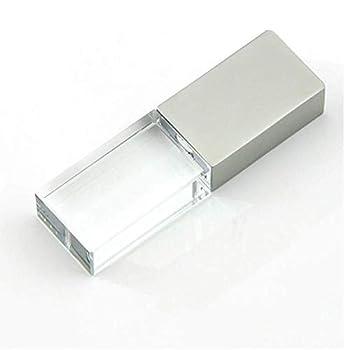 16GB USB 2.0 Flash Drive Crystal Blue LED Light Transparent Glass Pen Drive Cute Mini Memory Stick Thumb Drives Pendrive Gift