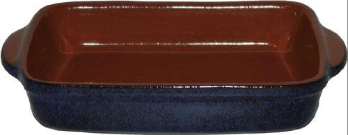 Amazing Cookware Fuente Profunda Rectangular Grande, una Maravillosa Pieza de Cocina de Terracota - Azul Reactivo