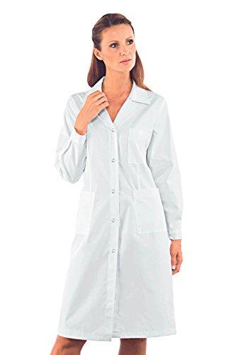Isacco Bluse für Damen, Weiß, L, 65% Polyester, 35% Baumwolle, langärmlig, Druckknöpfe – Stoff 150 g/m².