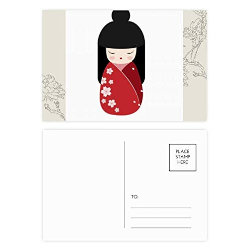 DIYthinker Red Kimono Sakura Japan Flower Postcard Set Thanks Card Mailing Side 20 stks 5.7 inch x 3.8 inch Multi kleuren