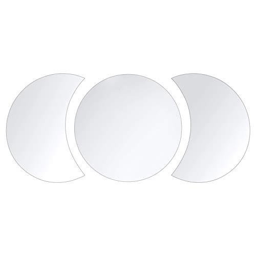 Espejos acrílicos con fase lunar, paquete de 3 pegatinas de espejo para pared, diseño de interiores, decoración de pared bohemia, sala de estar, dormitorio, fondo, decoración escandinava Silver ⭐